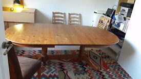LARGE PINE EXTENDING DINING TABLE IDEAL SHABBY CHIC PROJECT ITEM IS IN USED CONDITION