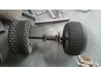 Quad rear axle complete with wheels ideal for trailer