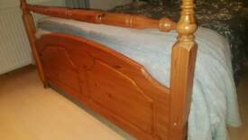 Pine Double Bed and Bedside Cabinets
