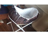 Moses baskets with stand.