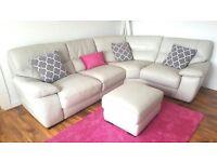 Dove Grey Leather Corner Sofa & Foot Stool