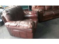 Chaise chair cigar tan Suite brown Vintage ranch sofa in thick brown neck leather 3+1???