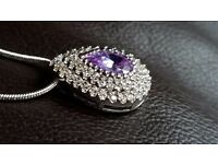 BRAND NEW 4 CARATS AMETHYST, WHITE TOPAZ, GENUINE 925 SOLID STERLING SILVER PENDANT NECKLACE