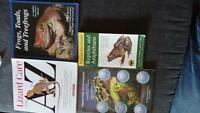 Assorted reptile items and books