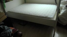 Four poster IKEA white bed with mattress. Double.