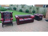 An ox blood red leather Chesterfield 3 piece suite in good condition