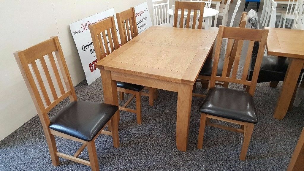 Julian Bowen Astoria Extending Oak Dining Table & 6 Astoria Dining Chairs **CAN DELIVER**