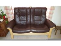 Two Ekornes Stressless Recliner two-seater leather sofas