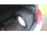 """Renault Clio 15"""" Sub Custom Fit Enclosure & Amp. May Split. Wiring available also. Subwoofer Woofer"""