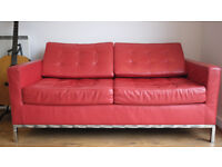 (CHEAP) Florence Knoll styled 2 Seater red leather designer sofa - Good condition - Available now !