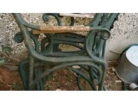 Full cast iron set 4 chairs and table
