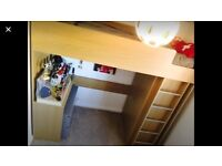 High rise single bed, wardrobe and desk