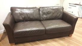 Excellent condition real leather sofa x 2 Brown (two cushions but seats three easily)