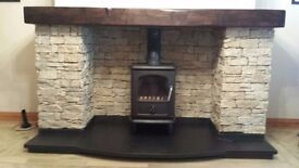 wooden beams over stoves