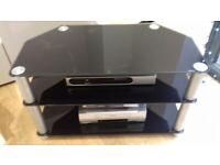 TV STAND TEMPERED SMOKE GLASS & CHROME VGC 80CM X 40CM X 50CM BARGAIN £10
