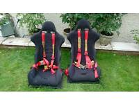 Fibreglass Bucket Seats and Red Sabelt 4 point harnesses