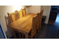6 seat baku light natural solid mango dining table, excellent condition.