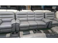 Light grey saddle fabric 5 seater electric reclining sofa