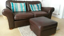 Two, 3 seater sofas from Marks and Spencer plus puffy
