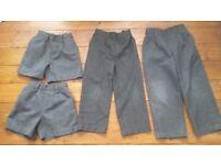 BOYS SCHOOL BUNDLE 2 TROUSERS 2 SHORTS SIZE 4 - 5 YEARS GREY SCHOOL UNIFORM