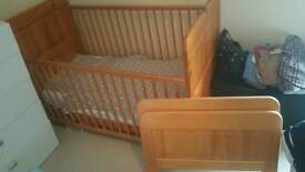 Pine Cot and Toddler Bed