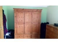 Solid wood wardrobe and drawers for sale, individually or as a pair. Good condition, vintage style