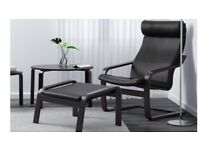 Leather armchair and footstool. Black wood and leather - ikea Poang