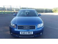 2003 AUDI A3 1.6 PETROL SPORT. FULL AUDI SERVICE HISTORY. RECENTLY SERVICED, PLUGS,AIR, OIL FILTERS.