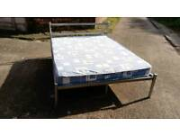 4'6 SILVER METAL BED FRAME WITH MATTRESS GOOD CLEAN CONDITION FREE LOCAL DELIVERY