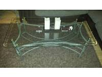 Metal and glass coffee table and side table