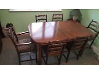 Solid Oak Dining Table with 6 Chairs and Extending Leaves