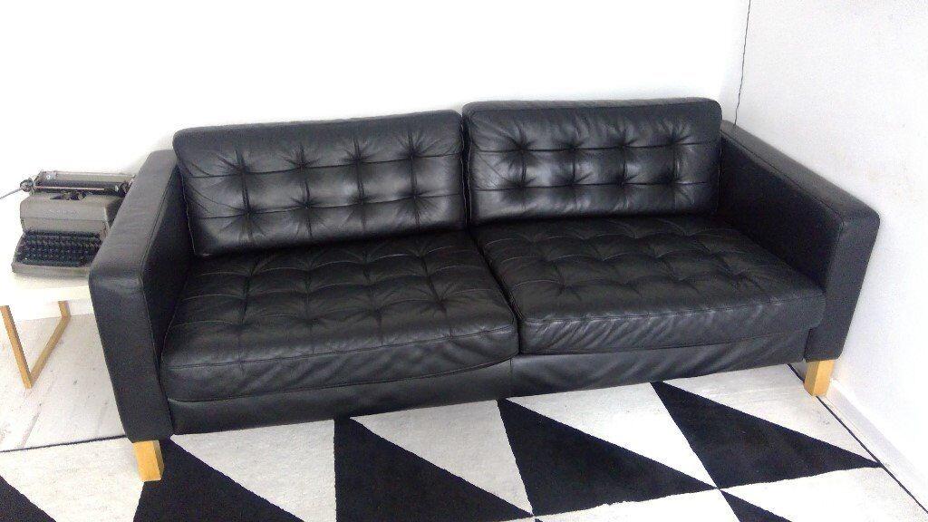 Swell Ikea Landskrona Karlstad Black Leather Three Seater Sofa In Bournemouth Dorset Gumtree Lamtechconsult Wood Chair Design Ideas Lamtechconsultcom