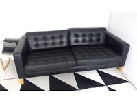 Ikea Landskrona Karlstad Black Leather Three Seater Sofa