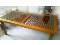 Cherry wood table for 8, glass top table, one of a kind dining table for 8, and 6 chairs included