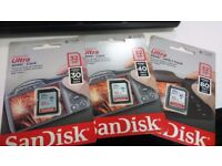 Sandisk Ultra 32gb SD Memory Card SDHC Card x 3