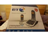 Bt4500 big button twin digitcal cordless phone with answe phone