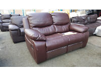 Code 41 Brown Recliner 2 Seater Sofa Cheap Bonded Leather Damage Clearance
