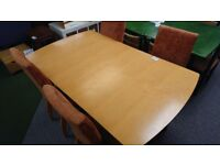 Extendable dining table with 4 chairs peach fabric
