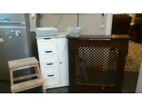 kitchen/bathroom cabinet and large plates/stool ladder/glass dish/radiator cover bundle