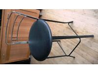 Chrome & Black leather bar stool