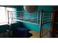 High sleeper single bed with desk and single futon **promised pending collection**
