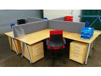IKEA Galant Large Office Corner Desk with 2 small drawers and accesories