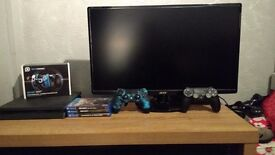 Complete ps4 gaming setup Inc monitor scuf controller