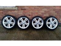 "Genuine BMW 1 & 2 series F20 F21 F22 F23 18"" inch alloys wheels with tyres style 386 msport SENSORS"