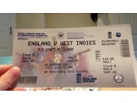 England vs West Indies one day international tickets x2 for 24/9/17