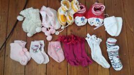 BABY BUNDLE NEWBORN 0 - 9 MONTHS BUNDLE SOCKS SLIPPERS CLASSIC RUSSIAN BOOTIES HELLO KITTY HANDMADE