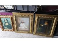Decrotive Art/Classic Art Pictures x3 Joblot for Sale Gold frames Mona Lisa £60.00ovno