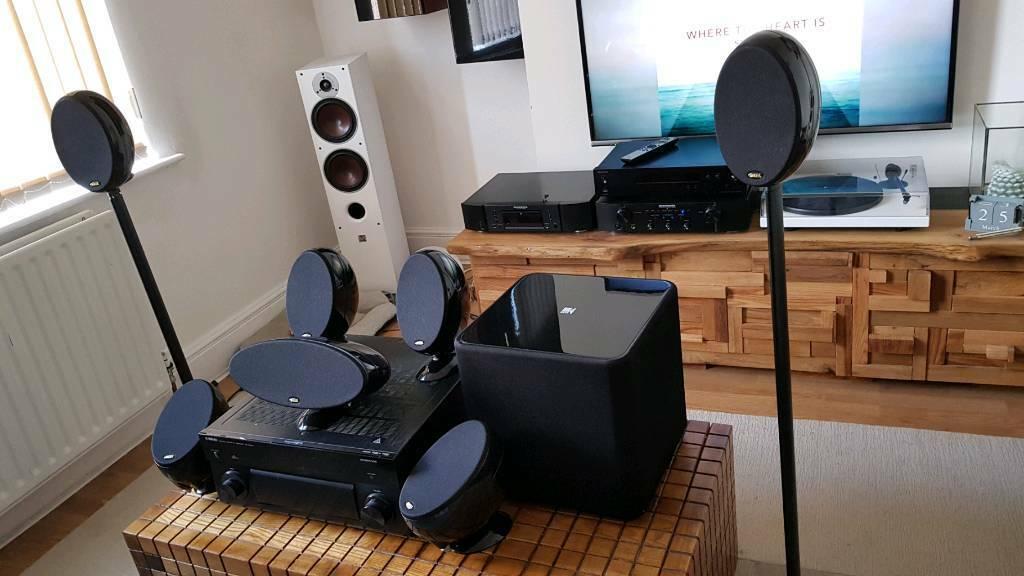 7.1 home cinema speakers KEF eggs 6x HTS3001+ 1x HTC3001+ KUBE 2 Subwoofer | in Arnold, Nottinghamshire | Gumtree