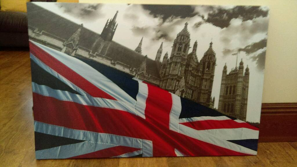 Union Jack and London scene Canvas
