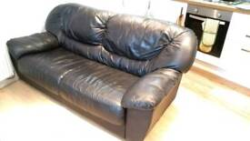 Comfortable Black Leather Sofa